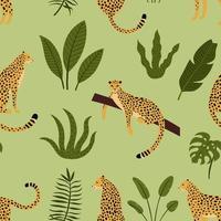 Padrão sem emenda de leopardo com folhas tropicais vetor