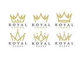 conjunto de logotipo da coroa real vetor