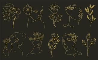 conjunto de elementos abstratos de folha e flor de rosto