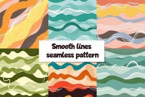 conjunto de padrões de curvas pintadas abstratas desenhadas à mão