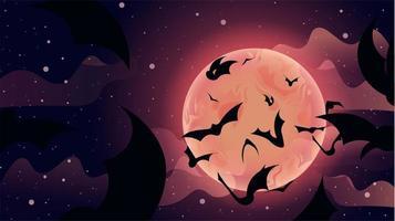 morcegos voando para a cena da lua do céu vetor