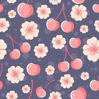 padrão sem emenda de cerejas e flores vetor