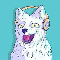 cachorro branco peludo sorrindo com fones de ouvido vetor