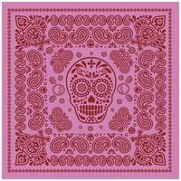 padrão de bandana rosa e vermelho com caveira e paisley vetor