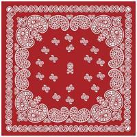 padrão de bandana vermelho e branco com caveira e paisley vetor