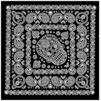 padrão de bandana com caveira e paisley vetor