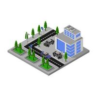 delegacia isométrica com projeto de estrada