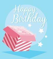cartão de feliz aniversário com caixa de presente vetor