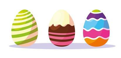 conjunto de ovos de páscoa decorados vetor