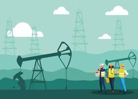 trabalhadores da equipe extraindo óleo vetor