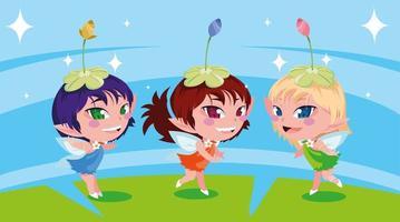 conjunto de personagens fofas fadas