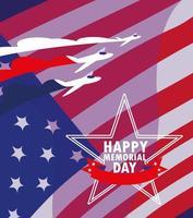 cartão do feliz dia do memorial com bandeira dos EUA vetor