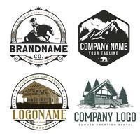conjunto de logotipo ao ar livre vetor