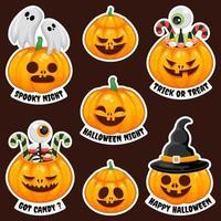 coleção de adesivos de jack o 'lantern halloween vetor