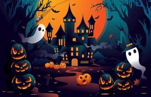 feliz dia das bruxas do castelo assustador vetor