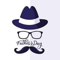 cartão de feliz dia dos pais com rosto de cavalheiro vetor