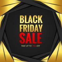 conceito de venda sexta-feira negra com moldura de papel dourado vetor