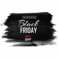 banner de venda de pincelada negra sexta-feira vetor
