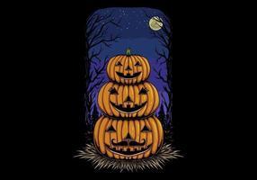família cabeça de abóbora de halloween
