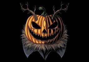 abóbora com chifres de halloween vetor