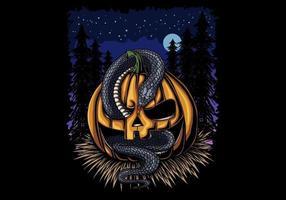 abóbora de halloween e cobra à noite vetor