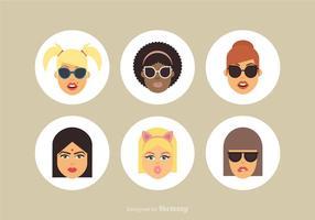 Avatares de desenhos animados femininos de desenhos animados gratuitos