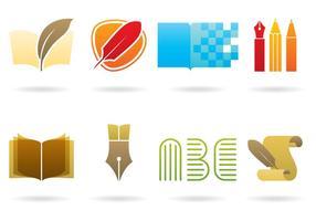 Logos de escrita e biblioteca