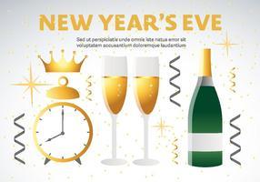 Decorações de feliz ano novo do vetor