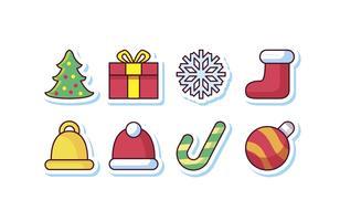 Conjunto grátis de ícones de adesivos de Natal vetor