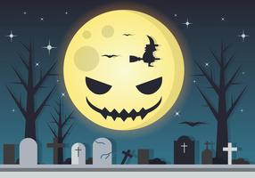 Vetor de Halloween da lua assustador