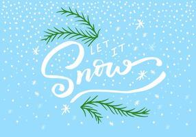 Deixe-o Snow Lettering vetor