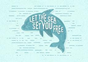 Ilustração vetorial livre do golfinho do vintage vetor