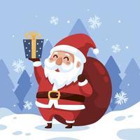 Papai Noel alegre com um presente vetor