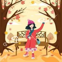 uma mulher curtindo a brisa de outono vetor