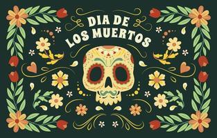 Dia de los muertos fundo colorido vetor