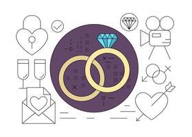 Ícones de casamento gratuitos vetor