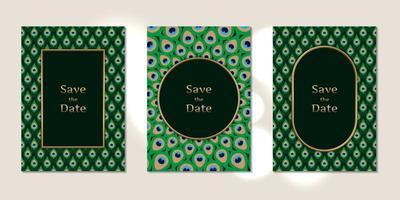 cartões de convite de casamento padrão de penas de pavão vetor