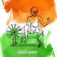 pôster criativo para gandhi jayanti ou celebração de 2 de outubro vetor
