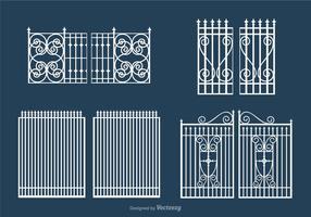 Conjunto de vetores de porta branca aberta grátis