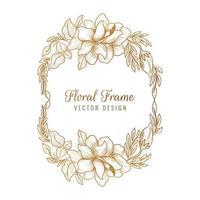 fundo decorativo dourado com moldura floral
