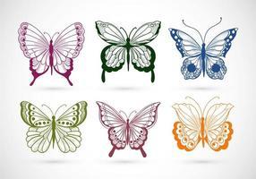 coleção desenhada à mão de borboletas coloridas vetor