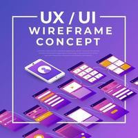 conceito de wireframe ux ui vetor