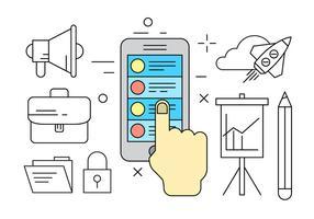 Ícones de vetor de marketing de smartphone