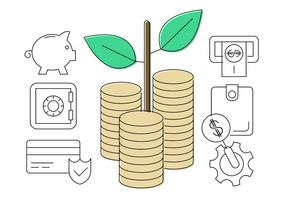 O dinheiro cresce em ícones de vetores de árvores