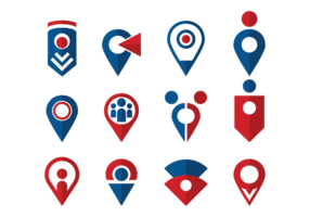 Ícone dos ícones do ponto de reunião vetor
