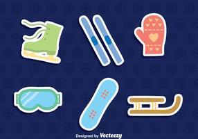 Vetor de ícones de elementos esportivos de inverno