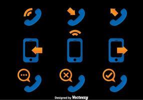 Ícone de ícones de comunicação telefônica vetor