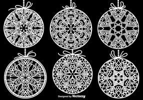 Elementos vetoriais das esferas brancas do Natal vetor