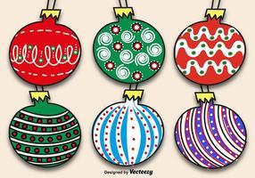 Conjunto de bolas de Natal desenhadas à mão vetor