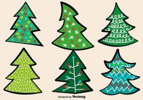 Conjunto De Vetores De Árvore De Natal Doodle